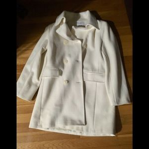 Calvin Klein ivory wool double breasted car coat